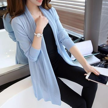 The spring in the New Womens 2017 loose long sweater cardigan sweater shawl female thin coat for summer air conditioning