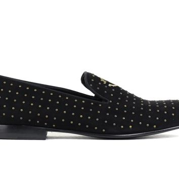 Roberto Cavalli Black Suede Antique Gold Studded Loafers