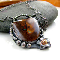 Boulder opal necklace sterling silver handmade by RareDesign