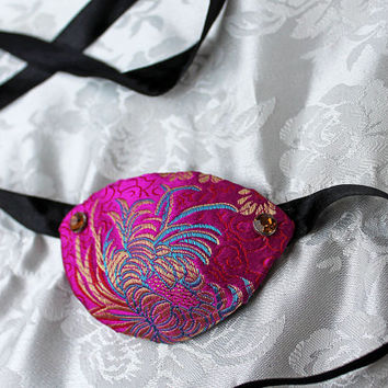 Fuchsia and Gold Satin Brocade Eye Patch Pirate Accessory Eye Patch