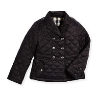 Mini Portree Military Jacket, Black, Size 4-14,