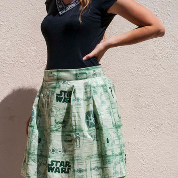 Glow-in-the-Dark Star Wars Skirt w/ Eyelet Crinoline, Green Schematics Print