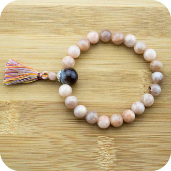 Peach Moonstone Mala Bracelet with Botswana Agate