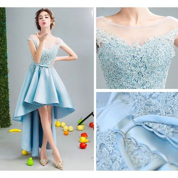 High-low Party Dresses Satin Aqua Embroidery Lace Cap-sleeve Backless Hi-low Prom Dresses