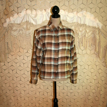 Vintage Plaid Flannel Shirt Button Up 90s Grunge Brown Plaid Shirt Oversized Long Sleeve Cotton 1990s Hipster Medium Large Womens Clothing