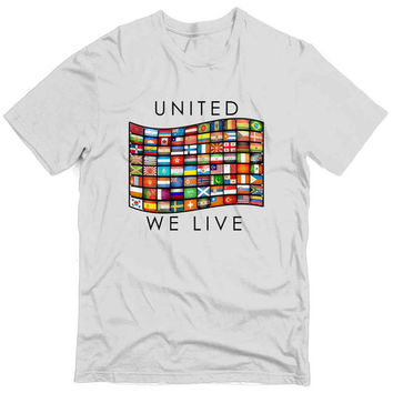 United We Live - Flags of the World Graphic Tee (mj-os-NL3600-unitedwelive-MLTCLR)