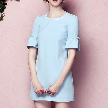 Pencil dress/elegant dress/short dress/short dress for party/autumn dress/light blue dress/slim dress (ESR27)