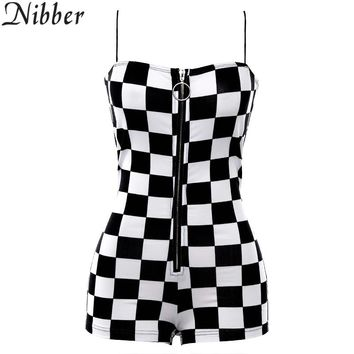 Nibber new women's wild  jumpsuit fashion home clothing zipper black white plaid Playsuits ladies Leisure vacation bodysuits