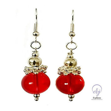 Red Glass Bead and Silver Plated Flower Rondelle Earrings - Handmade Jewellery - One Of A Kind Design