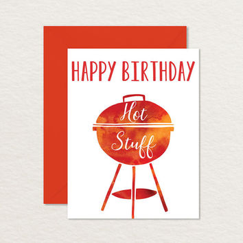 Funny Birthday Card / Printable Birthday Card /Happy Birthday Hot Stuff A2 / Birthday Card for Husband Wife Girlfriend Boyfriend / Pun Card