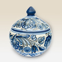 Lidded Bonbonniere with blue Flower motives . Haban Ceramic. 100% Handmade. Hand painted floral.