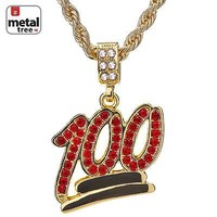 """Jewelry Kay style Men's 14K Gold Plated Iced Out 100 Red Stone Pendant 24"""" Rope Chain HC 1069"""