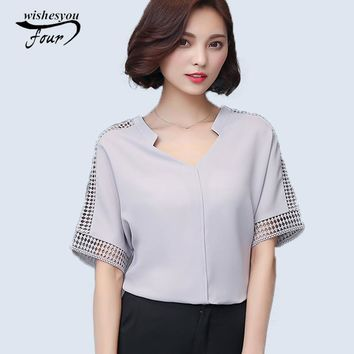 New 2017 Summer Fashion Women Blouses Lace Hollow Out Short Sleeve V-neck Casual Loose Shirts Plus Size Chiffon Tops 883C 25