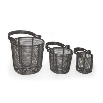 Go Home Set Of Three Wire Baskets With Flat Handle