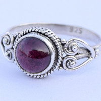 Garnet Ring 925 Solid Sterling Silver Ring Garnet  Stone Ring Size US 5 6 7 8 9 10 11 12 Gift Idea Stone Ring