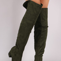 Suede Cuff Back-Slit Block Heeled Over-The-Knee Boots
