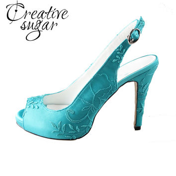 Creativesugar Handmade turquoise slingback high heels lace open peep toe ladies wedding evening party prom shoes pumps big size