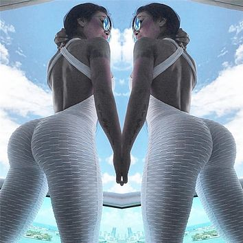 New Sexy Full Bandage Sporting Bodysuit Sexy Sleeveless Solid White Bodysuit Backless Fitness Women Jumpsuit