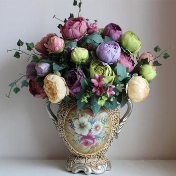 ESBONHS artificial silk flowers European 1 Bouquet Peony festival patriarch placed flower for wedding Home Party Decoration