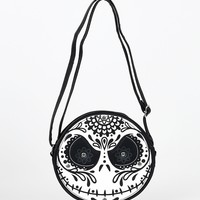 Black & White Sugar Skull Jack Leatherette Crossbody Bag