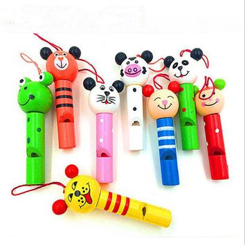 DKF4S 8PCS small animals  mixed wooden  Lip Whistles Pinata Kids Birthday Decoration Party  christmas party toy Supplies Gift Toys