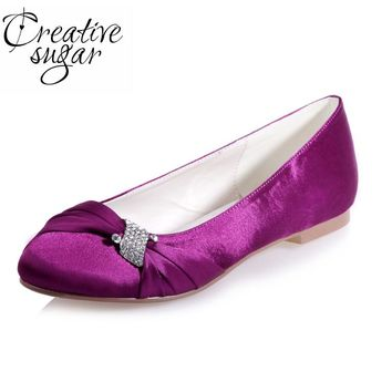 Creativesugar Ladies elegant flats satinrhinestone knot woman's beach wedding party banquet prom shoes crystal purple white blue