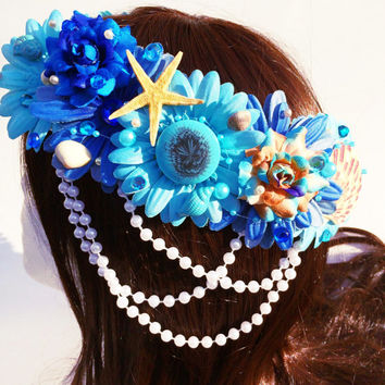 Into The Sea Blossom Crown, Flower Halo, Flower crown, Flower headband, Festival, Hippie Headband, Coachella, Rave, Bridal