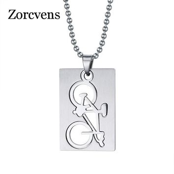 ZORCVENS Unique Detachable Biker Bicycle Necklace & Pendant Stainless Steel Punk Dog Tag Men Jewelry