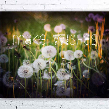 Make Wishes II - fine art photograph, typographic print, bohemian art, dandelion photo, dandelion print, boho decor, inspirational quote