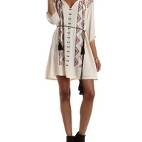 Embroidered Tie-Neck Shift Dress