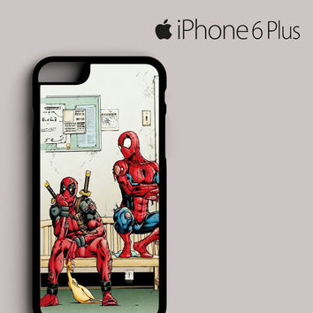 Funny Spiderman and Deadpool iPhone 6 Plus case