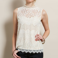 Pristine Lace Mock Neck Tank
