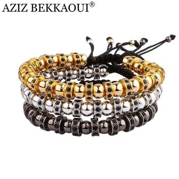 2017 Anil Arjandas Hematite Stone Beads Bracelet With Crystal Bracelets For Black Gold Color Men