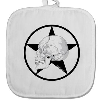 White Skull With Star White Fabric Pot Holder Hot Pad by TooLoud