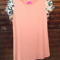 Peach Sequin Sleeve Top