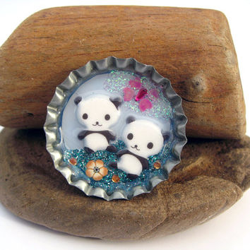 Bottlecap brooch cute panda miniature scene by thehappymushroom