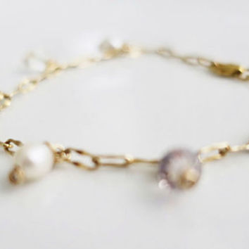 Delicate Gold Bracelet, Freshwater Pearl Crystal, June Birthstone, Dainty Bracelet, Wedding Jewelry, Bridesmaids Gift, Gold Fill Bridal