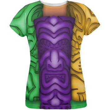 PEAPGQ9 Mardi Gras Tiki Glass Party All Over Womens T Shirt