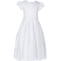 Us Angels 7-14 Tulip-Sleeve Embroidered-Organza-Overlay Dress - White