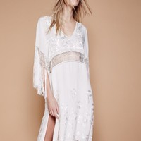 """Free People"" Fashion Boho Deep V-Neck Tassel Hollow Embroidery Short Sleeve Split Maxi Dress"