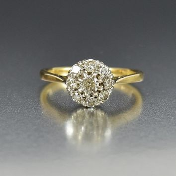 Antique Victorian Diamond Cluster Engagement Ring