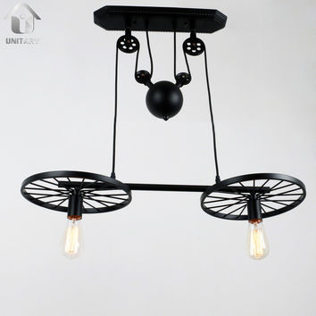 Black Vintage Metal Wheels Hanging Ceiling Pulley Chandelier with 2 Lights
