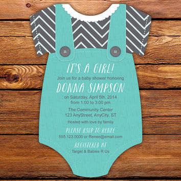Tiffany Blue with Gray Chevron Print Baby Shower Invitations -- 20 Onesuit die cut printed cards in any color