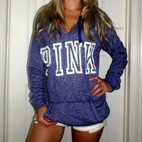 DCCKOB6D PINK Victoria's Secret Casual Letter Print Hoodie Sweatshirt Top Sweater