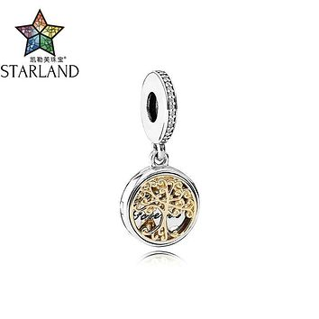 Starland Fine 100% 925 Sterling Silver 14K Gold Tree Family Source Beads Fit Original Charms Bracelet & Pendant Women Jewelry