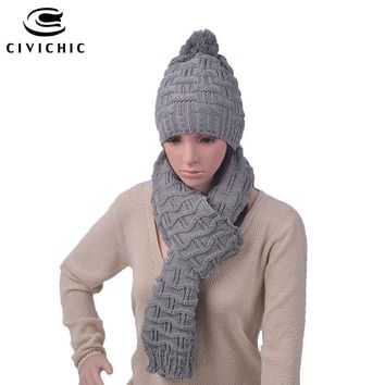 CIVICHIC Fashion Woman Crochet Winter Hat Scarf Set Korea Stylish Two Pieces Warmer Knit Cap Thicken Shawl Chic Headwear SH112