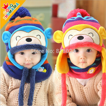 (1Set =1 Cap+ 1 Scarf ) Child winter Cap scarf set Kids Monkey Pattern knitted Cap with Earflap Warm hat For 1-4 Years baby
