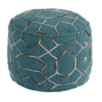 Turquoise Wool Pattern Embroidered Pouf Ottoman