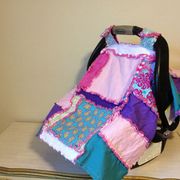 40% Off Sale CAR SEAT COVER, Baby Carseat Canopy, Nursing Quilt, Girl, Pink, Purple, Ready to Ship
