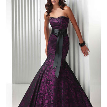 Elegant Purple Mermaid Evening Dresses With Beaded 2016 Sexy Strapless Floor Length Women Wedding Party Gowns Robe De Soiree